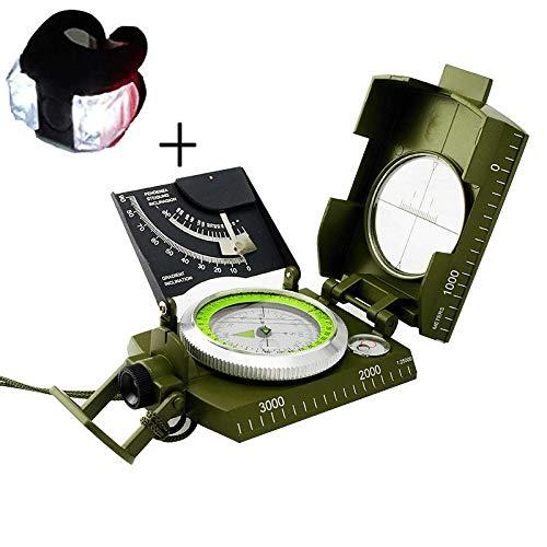 Denshine Portabile Geologica Bussola Militare con Luce Fluorescente con Inclinometro,Colore Verde Militare