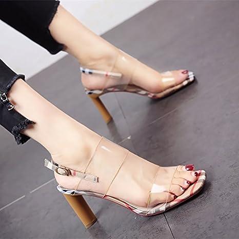 YMFIE In stile europeo estate nuove punte spesse scarpe in pelle tacchi alti zona pellucida confortevole lady's...