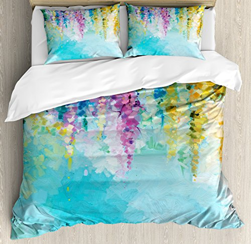 Ambesonne Watercolor Flower Home Decor Duvet Cover Set, Ivy Romantic and Inspiring Landscape Spring Floral Art Nature Theme, 3 Piece Bedding Set with Pillow Shams, Queen/Full, Multi