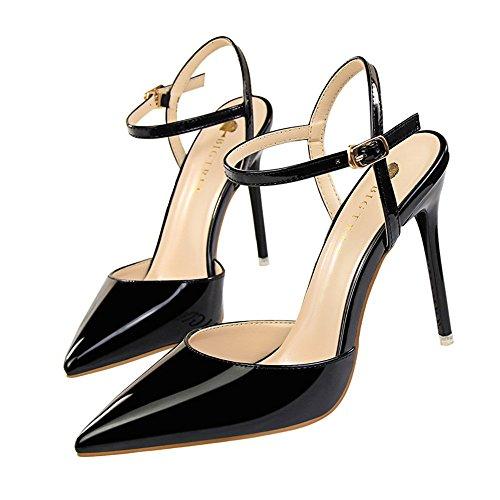 z&dw Simple boca profunda aguda y ultra altos tacones muestran delgadas con sandalias Negro