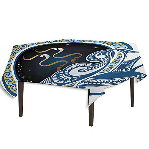 Imperial Blue Small Jug - kangkaishi Zodiac Printed Tablecloth Image of Aquarius Sign with Jug and Circular Globe World Form on The Background Outdoor and Indoor use W36.2 x L36.4 Inch Blue and Gold