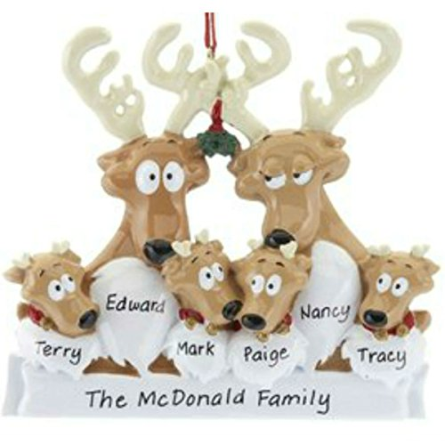 Rudolph Reindeer Family of 6 Personalized Christmas Ornament