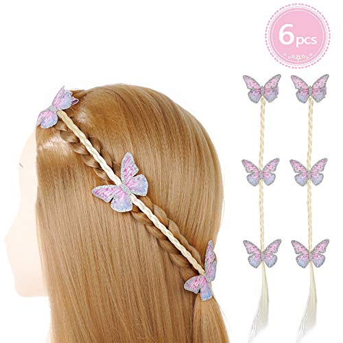 PinkSheep Butterfly Clips, Braided Hair Extensions for Girls, 6PC, Alligator Bow, Princess Dress Up