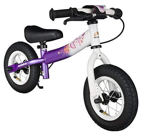 BIKESTAR Original Safety Lightweight Kids First Balance Running Bike with brakes and with air tires for age 2 year old boys and girls | 10 Inch Sport Edition | Candy Purple