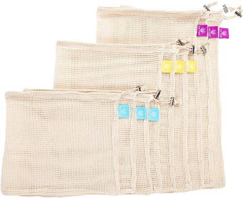 JUST PEAK Reusable Mesh Produce Bags-100% Organic Cotton is Biodegradable and Washable-Very convenient Drawstring and Tare weights on Tags-Best for vegetables storage Grocery Shopping-(Set of 9)