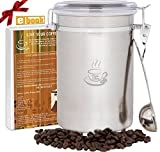 PureJava Coffee Canister ~ Large Coffee Container ~ Bonus Stainless Steel Coffee Scoop AND Bonus Coffee Recipe eBook With Cold Brew Coffee Recipe Included
