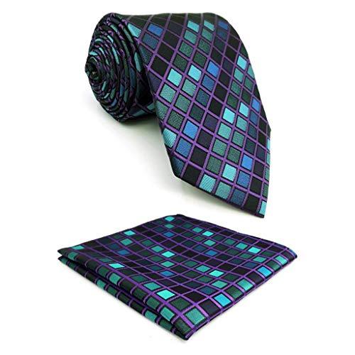 Shlax&Wing New Design Blue Checkers Silk Mens Ties Neckties Set Business Suit Set