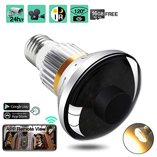 16GB 720P HD WiFi Security Camera LED Light Bulb Camcorder with IR Night Vision, Support Remote View, Motion Activated and Loop Recording
