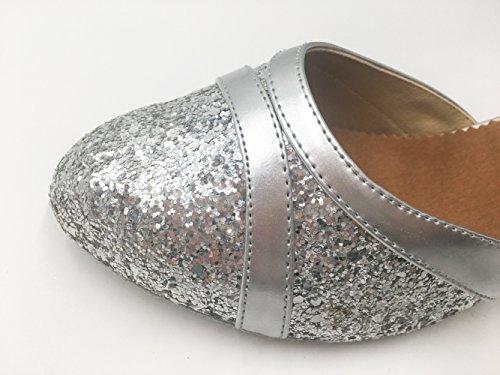 Toe Honeystore Runde Pailletten Silber Tanzschuhe Latein Damen's xwwP8qAz7