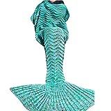 U-miss Mermaid Blanket Crochet and Mermaid Tail Blanket for adult, Super Soft All Seasons Thicken Sleeping Blankets(71''x35.5'', Wave Mint Green)