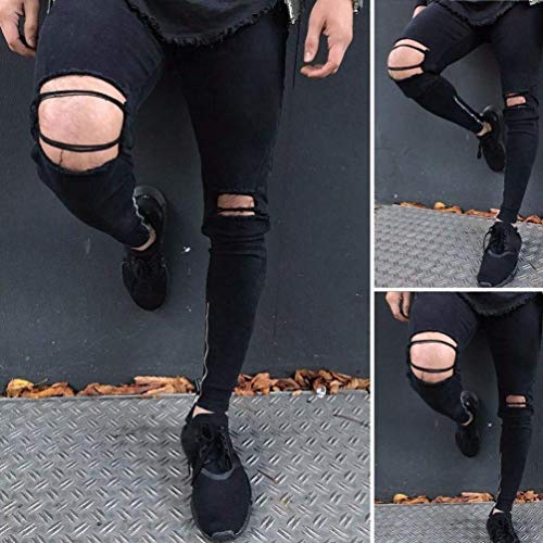Dasongff Nero Pants Da Holes Destroyed Jeans Denim Ripped Abbigliamento Biker Cher Adelina Pantaloni Pantaloni Skinny Look Uomo ZqEFaxnR
