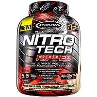 MuscleTech Nitro Tech Ripped Ultra Clean Proteína de suero de leche en polvo + Fórmula para perder peso, Bajo en azúcar, Bajo en carbohidratos, Remolino francés de vainilla, 4 libras