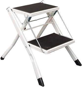 Escalera plegable taburete banqueta Escalera pequeña 2 peldaños, taburete plegable de seguridad de la cocina compacta para niños adultos, con peldaños anchos, metal, 120 kg (color : Blanco): Amazon.es: Bricolaje y herramientas