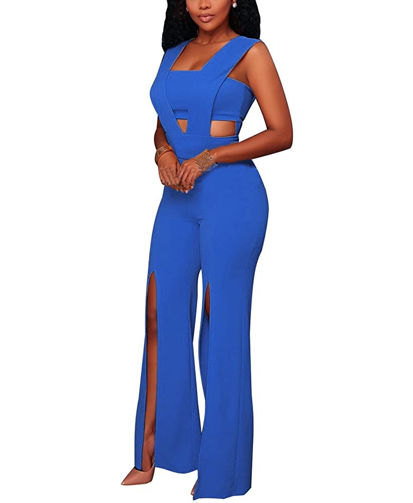 7d208245d697 Amazon.com  LightlyKiss Sexy Womens Summer Sleeveless Slit One Pieces Long  Pant Romper Jumpsuit Dress for Ladies  Clothing