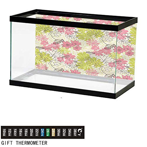 """bybyhome Fish Tank Backdrop Floral,Pastel Petals Blooming,Aquarium Background,36"""" L X 24"""" H(92x61cm) Thermometer Sticker"""