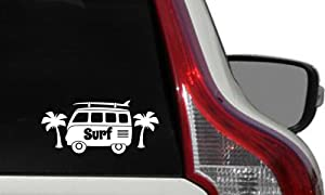 Surf VW Bus Tree Surf Text Car Die Cut Vinyl Decal Bumper Sticker for Car Truck Auto Windshield Wall Window Ipad Tablet Macbook Laptop Computer Home Custom and More (White)