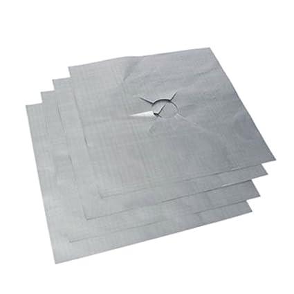 Merssavo 4 Pcs Plata de Teflón Estufa de Gas de Protección de Superficie MAT Estufa de