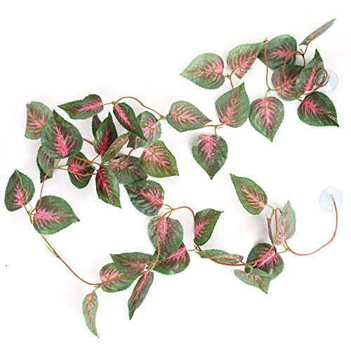 Silk Plants Jungle (SLSON Repta Vines Silk Reptile Vine Fake Jungle Terrarium Plants for Bearded Dragons,Lizards,Geckos,Snake Pets and Other Reptiles Amphibians Decorations,with Suction Cups,7.8 Feet Length,Red Coleus)