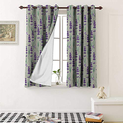 Lavender Blackout Draperies for Bedroom Botanical Pattern with Fresh Herbs Aromatherapy Spa Theme Curtains Kitchen Valance W72 x L63 Inch Pale Sage Green Violet and Green