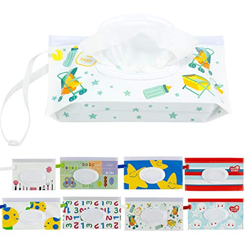 Biubee 8 Pcs Reusable Wet Wipe Pouch- Portable Wet Wipes Dispenser Holder Case for Baby or Personal Travel Use ()