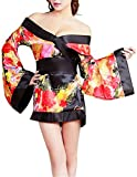 Olens Love Blossom Red and Black Kimono Costume With Belt