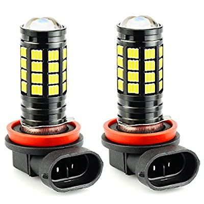 JDM ASTAR 2800 Lumens Extremely Bright 4014 Chipsets H11 H8 LED Fog Light Bulbs for DRL or Fog Lights, Xenon White