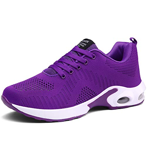 CASMAG Women's Walking Outdoor Jogging Flyknit Running Shoe Walking Training Shoe Purple 8.5 M US