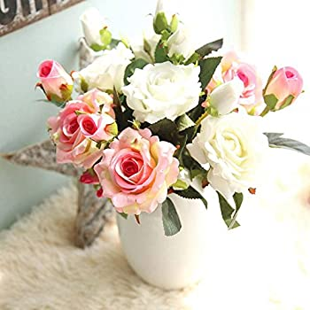 Amazon artificial flowers fake flowers silk 9 heads roses artificial flowers fake flowers silk 9 heads roses bouquets wedding party kitchen home decor 3pcs mightylinksfo