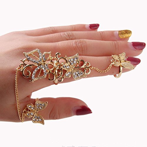 Fashion Rings,Fimkaul Flower Butterfly Full Finger Ring Gold Chian Link Double Ring for Lady