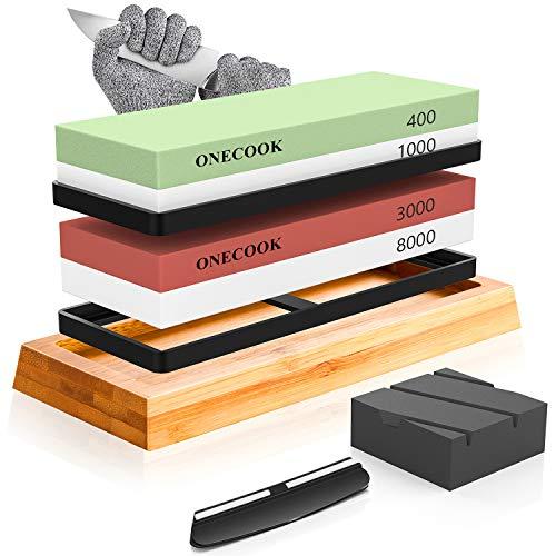 ONECOOK Knife Sharpening Stone Set 400/1000 3000/8000
