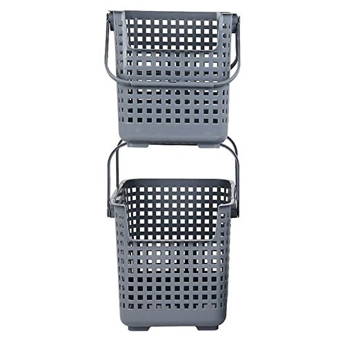 Nature Living Modern Stackable Plastic Basket with Handles for Laundry Toys Recycling, Grey, Large, Pack of 2