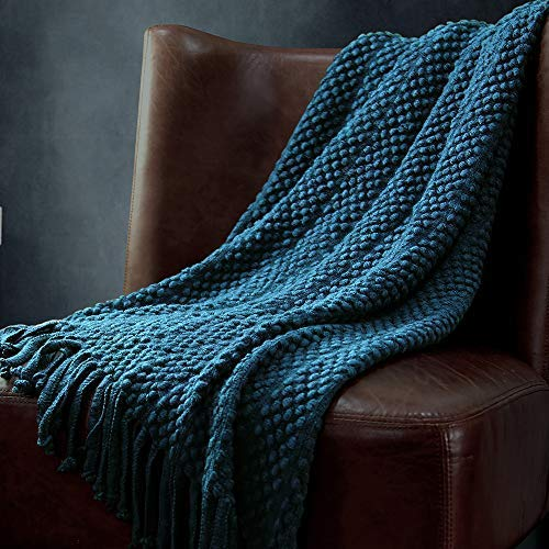 """PAN'S ROOM Knitted Throw Soft & Cosy Blanket for Cough Sofa Bed travel-50""""x70"""", (Peacock Blue)"""