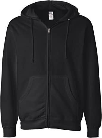 Mens Full-Zip Hooded Sweatshirt Charcoal Independent Trading Co M