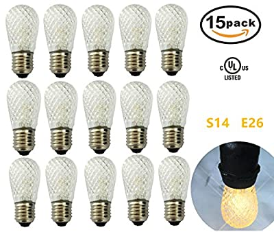 [15 Pack] S14 LED Replacement Bulbs, Warm White 2700K 0.9W, Plastic Shatterproof, UL Listed, E26 Medium Base Vintage Edison Light Bulbs For Commercial Grade Outdoor String Lights, Patio Garden