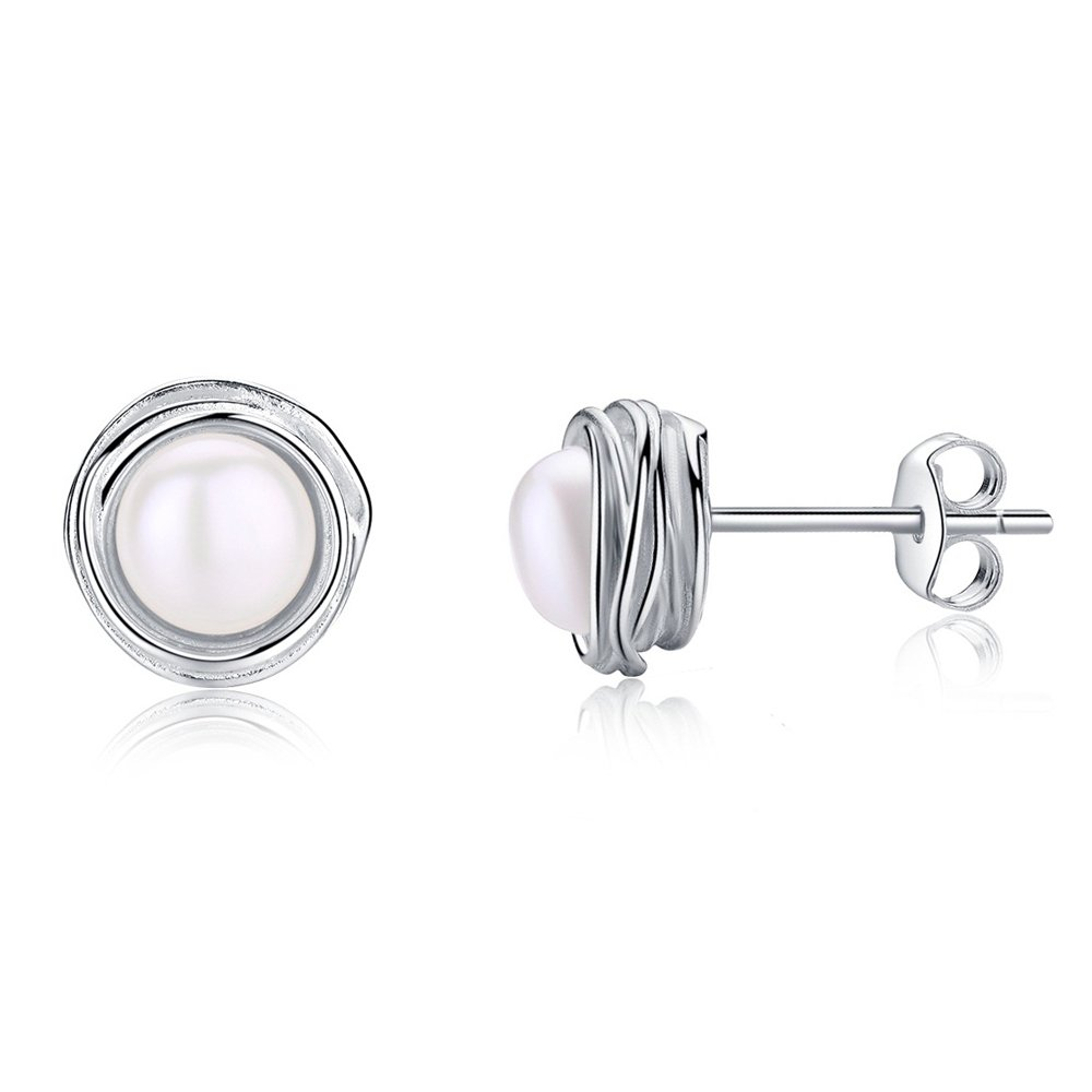EVERU Sterling Silver Flower Stud Earrings with AAA Freshwater Pearls with an Exquisite Gift Box