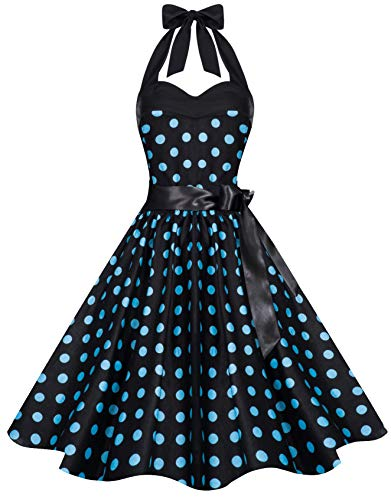 Zarlena Damen Vintage 50er Rockabilly Neckholder Kleid