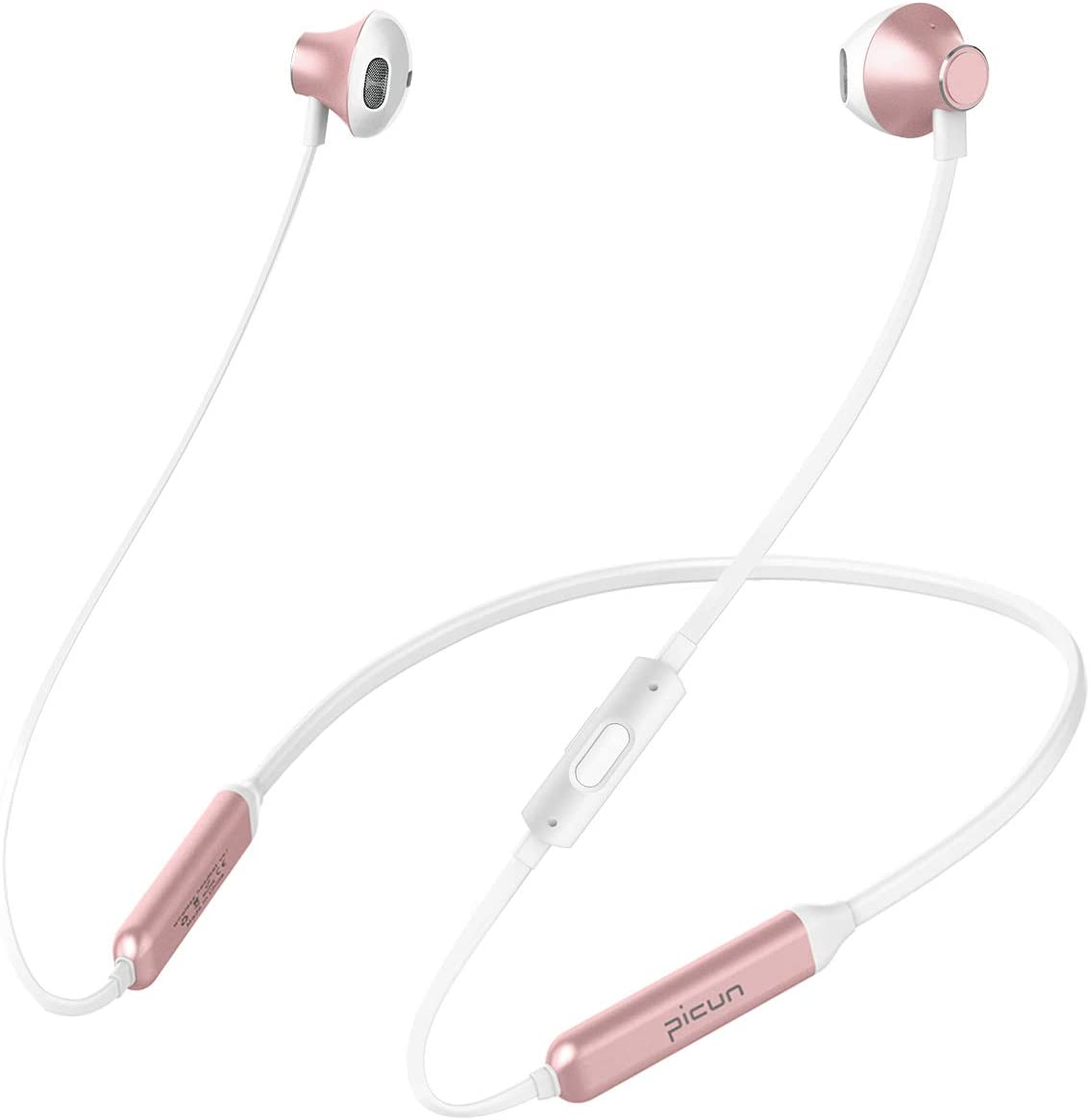 Picun 10 Hrs Playtime Wireless Headphones Bluetooth Neckband Headset, HiFi Bass Sports Sweatproof Noise Cancelling Stereo Magnetic Earphones with Mic, 13 MM Driver, for Workout Running Gym Rose Gold