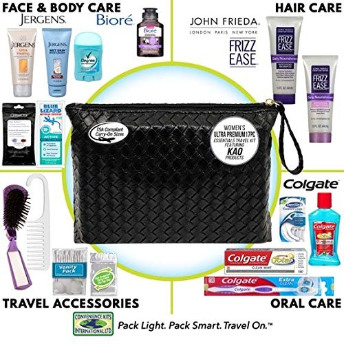 51aKtfYYUcL - Convenience Kits International, Women's Premium 17-Piece Assembled Travel Kit Featuring: John Frieda's Frizz Ease, Jergens and Biore Products in Reusable Bag