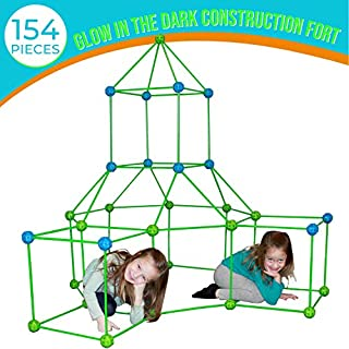 Funphix Fort 154 Pc Set for Supersized Glow in The Dark Fort Building - Encourages Teamwork, Stimulates Imagination for Age 5+ (Green Blue Balls)