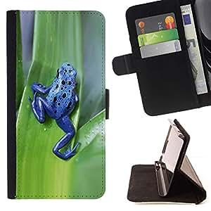 For Apple iPhone SE / iPhone 5 / iPhone 5S Case , Veneno Animal de la rana verde de la hoja- la tarjeta de Crédito Slots PU Funda de cuero Monedero caso cubierta de piel