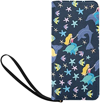 Cellphone Clutch Purse With Wrist Strap Watercolor Whales Pattern Girls Canvas Coin Case Zipper Small Purse Wallets