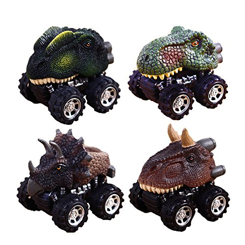 Sportsvoutdoors Pull Back Cars Big Tire Wheel Vehicles Playset Dinosaur Toys Truck for Kids Toddlers by 4 Pack (4 PACK) -
