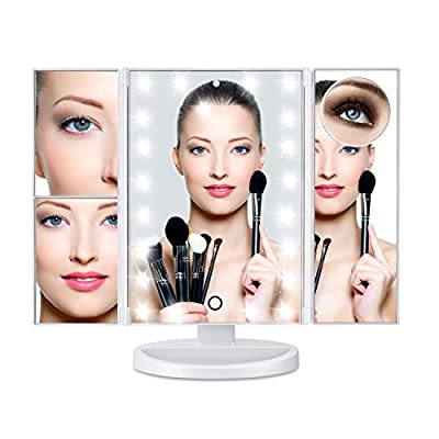 Led Lighted Makeup Mirror 10X 3X 2X 1X Magnifying Mirror 24 LED Tri-Fold Mirror with Touch Screen and 180° Adjustable Stand, Brightness Travel Beauty Mirror (White)