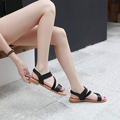 Sandales Casual Noir De Féminine Plates Solide Plat Été Dames Roma Sandales Pour tongs Femme mode Toe Travail Chaussures dA1nwqdTH