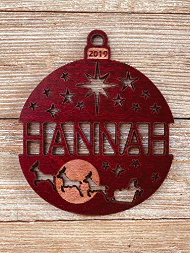 Personalized Christmas Ornament 2019 Solid Wood Santa's Reindeer Design