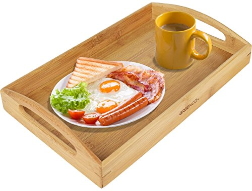 Greenco Rectangle Bamboo Butler Serving Tray With Handles by Greenco (Image #1)