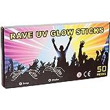 "50 x 8"" NEON GLOW STICKS WITH 50 CONNECTORS - RAVE NIGHT GLOW PARTY UV BRACELETS"