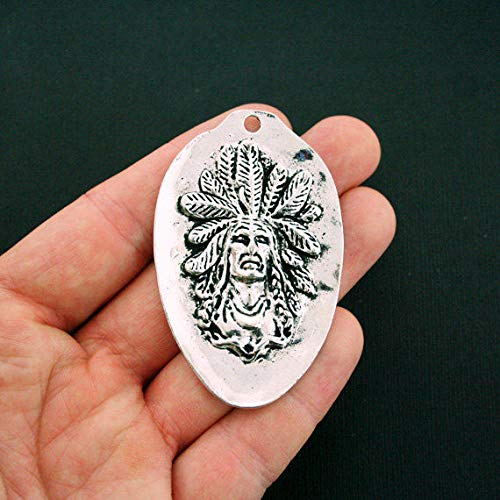 1 Native American Chief Pendant Charm Antique Silver Tone Large Size SC6007