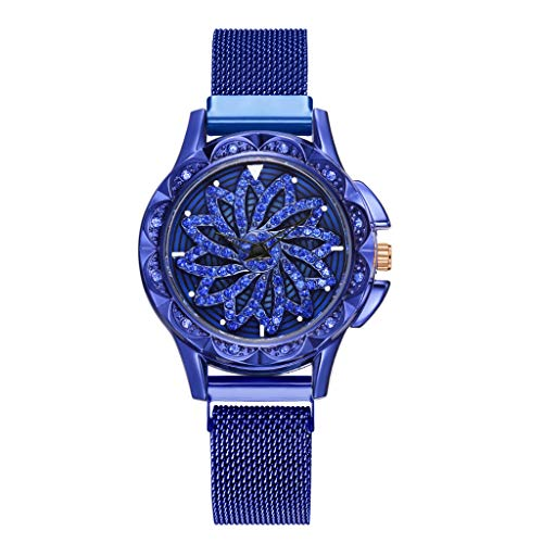 Classic Round Analog Watch Artificial Leather Band 360 Degree Rotating Fashion Diamond Dial Ladies Quartz Mesh Belt Watch(Blue )