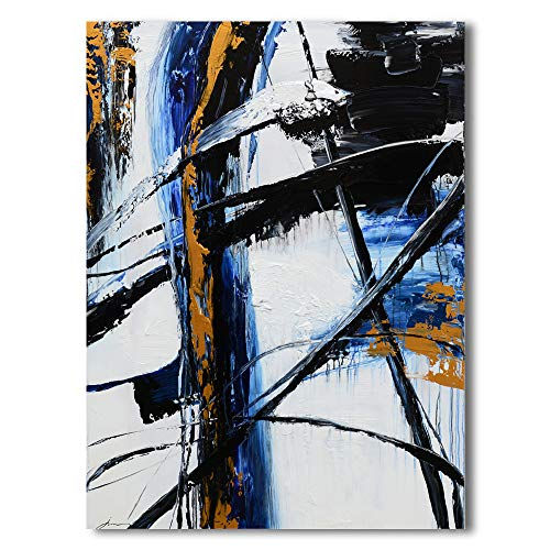 Yihui Arts Abstract Oil Painting Black and White Large Canvas Art Pictures Modern Home Wall Decor 24x36IN